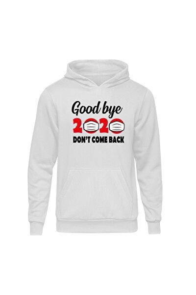 Yılbaşı Goodbye Beyaz Kapşonlu Hoodie Sweatshirt