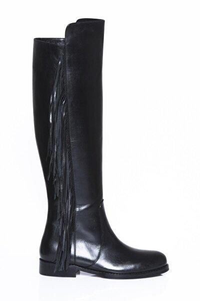 Hakiki Deri Siyah Kadın Deri Çizme Dp01-2148