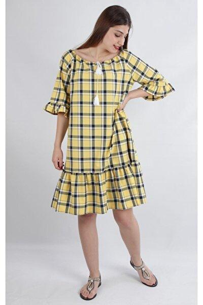 Bağlama Detaylı Ekose Desenlı Fırfırlı Rahat Kalıp Elbise, Sarı (B20-150908)