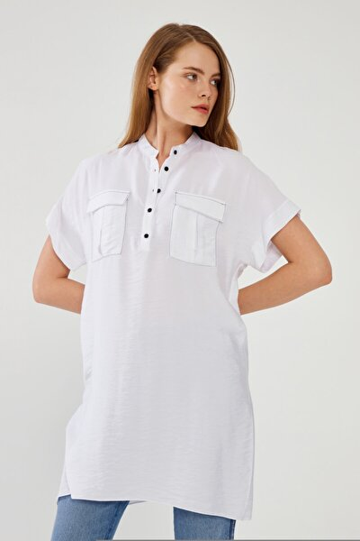 Kadın Beyaz Düğmeli Tunik