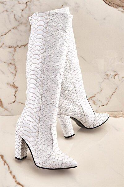 Beyaz Kadın Çizme K06391135