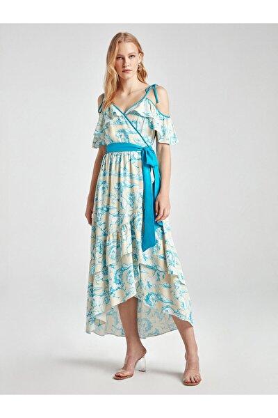 Kruvaze Desenli Midi Boy Elbise