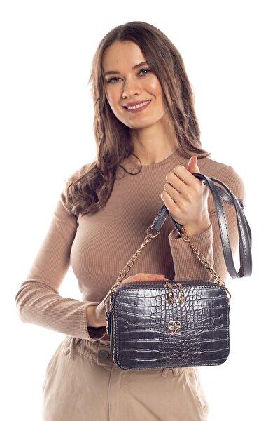 Aynı Butikte 2. Ürün 1 TL Füme Kroko Kadın Kutu Zincirli Çapraz Çanta