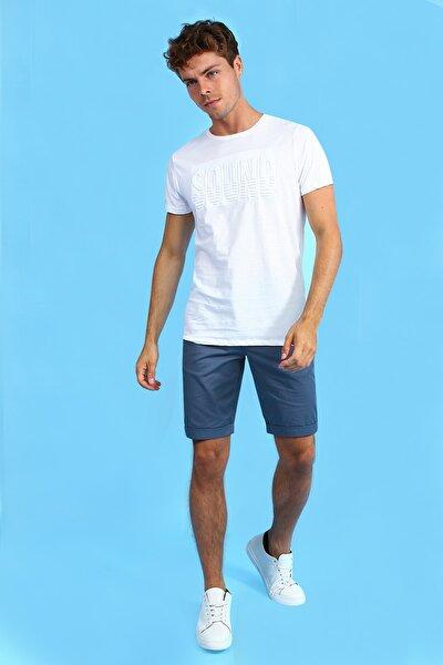 Beyaz Bisiklet Yaka Önü Kabartmalı Kısa Kollu Erkek Tshirt