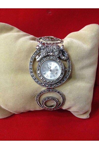 Gümüş Markazit Taşlı Kaplan Figürlü Saat