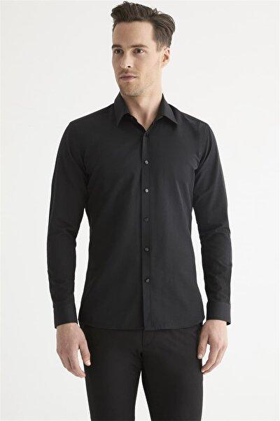 Gk 602 Slim Fit Siyah Klasik Gömlek