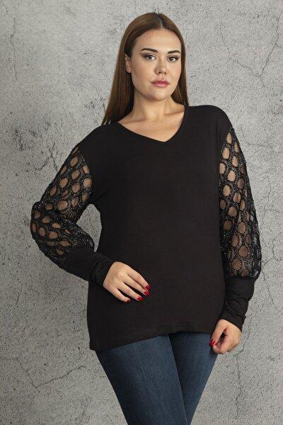 Kadın Büyük Beden V Yaka Kol Detaylı Siyah Bluz
