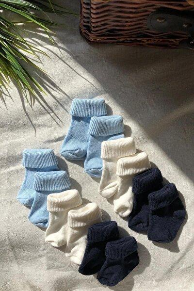 6'lı Paket Farklı Renklerde Pamuklu Erkek Bebek Çorap