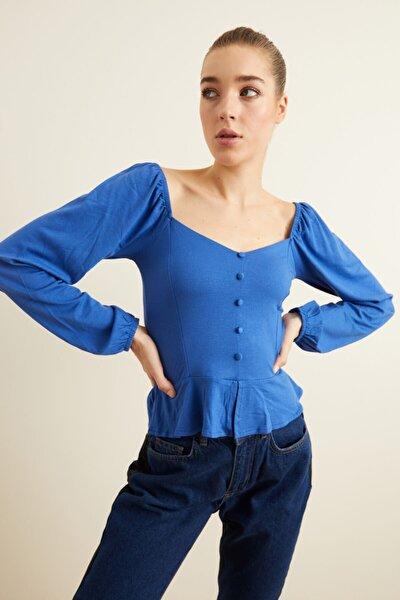 Kadın Saks Örme Uzun Kollu Bluz