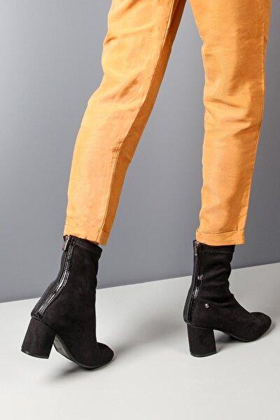 Kalın Topuk Siyah Süet Streç Kadın Bot