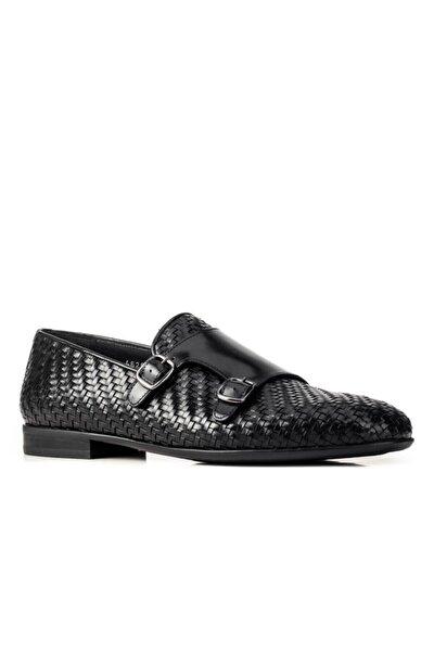 4626 Kaucuk 352 Taban Örgülü Ayakkabı-(Ms)-siyah Fsn - Siyah Deri