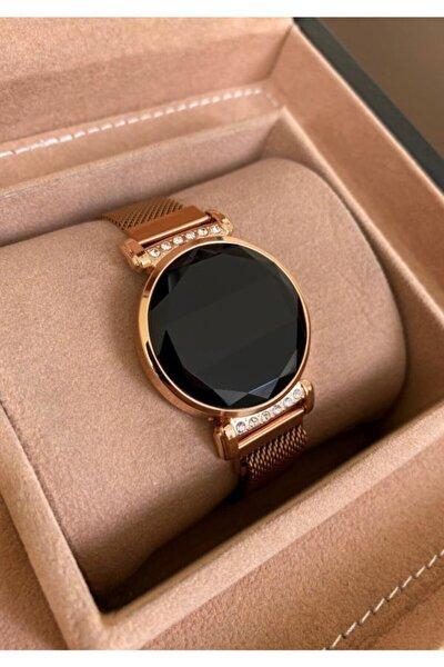 Rose Gold Renk Mıknatıslı Kordon Taşlı Dokunmatik Ekranlı Kadın Saati