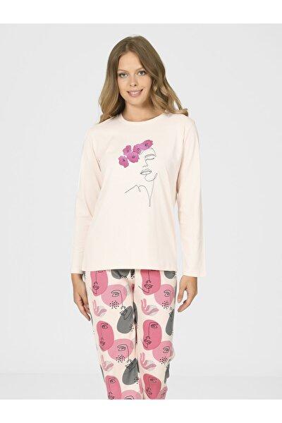 Yüz Çizgi Desenli Kadın Pijama Takımı 67028