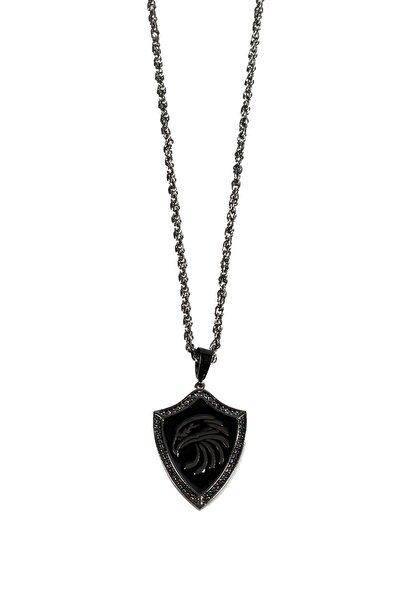 Gümüş Kaplama Aslan Figürlü Kolye Füme Renk 00585