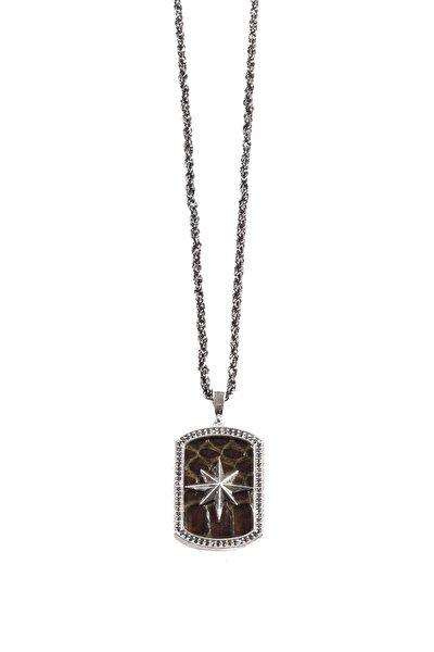 Gümüş Kaplama Kuzey Yıldızı Pusula Kolyesi Haki Renk 00581
