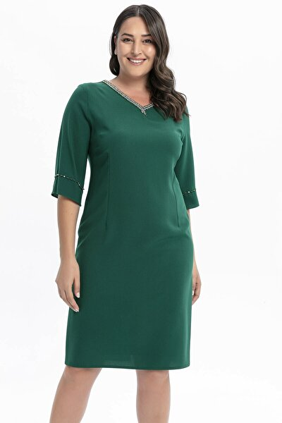 Yakası Kolu Taşlı Büyük Beden Abiye Elbise Yeşil