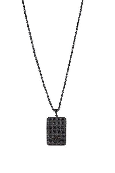 Gümüş Kaplama Taç Figürlü Zirkon Taşlı Kolye Siyah Renk 00576