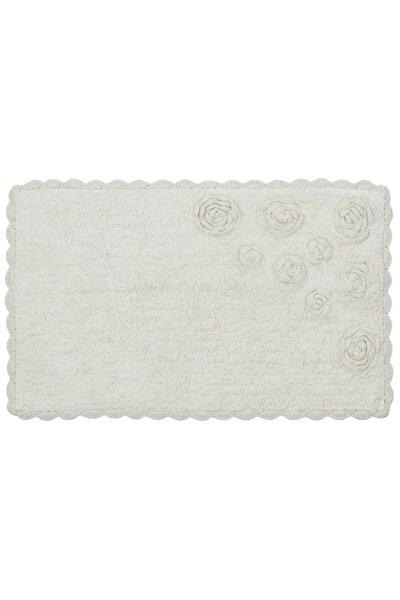 Enn Beyaz Banyo Paspası El Örgüsü %100 Pamuk Banyo Halısı Yıkanabilir Ithal Paspas
