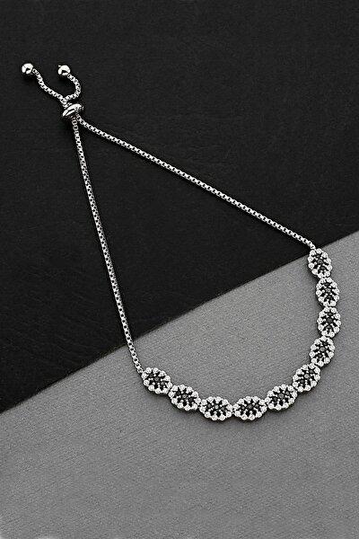 Zirkon Taşlı Gümüş Asansörlü Bileklik - B076901