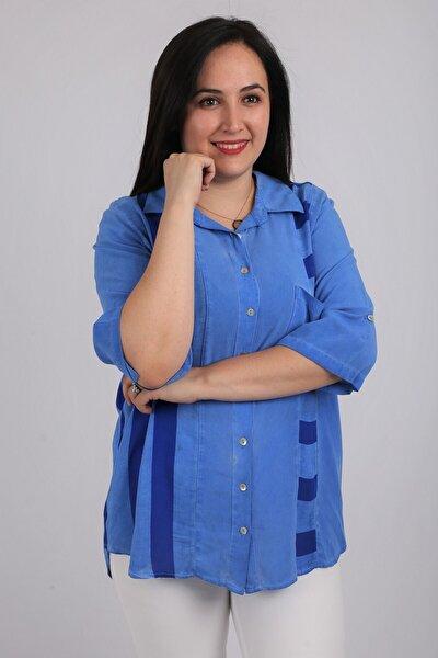 Kadın Gömlek Rg6720 Ilkbahar Yaz Renk Mixli-saks Mavi
