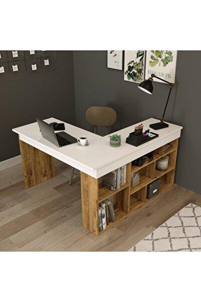 Tywin Kitaplık Raflı Çalışma Masası Çam-beyaz
