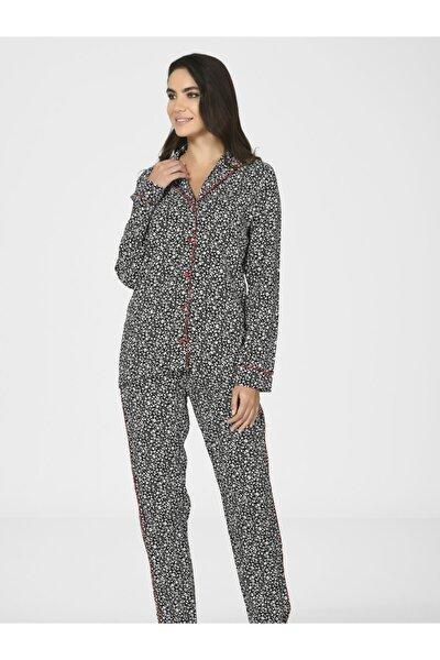 Önden Düğmeli Kadın Dokuma Pijama Takımı 67030