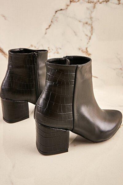 Siyah Kroko Kadın Bot & Bootie K0503999909