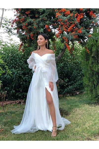 Kayık Yaka Balon Kollu Abiye Elbise