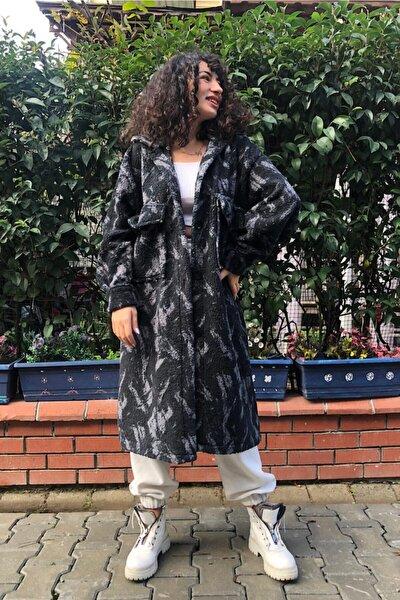 Kadın Siyah Peluş Astarsız Oversıze Ceket Kaban