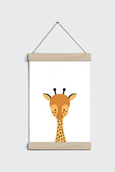 Zürafa Desenli Ipli Askılı Kanvas Poster Tablo Duvar Dekoru