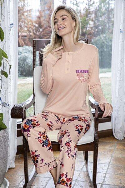 Kadın Poplin Altı Çiçek Desenli Üstü Düz Yakası Düğmeli Pijama Takımı