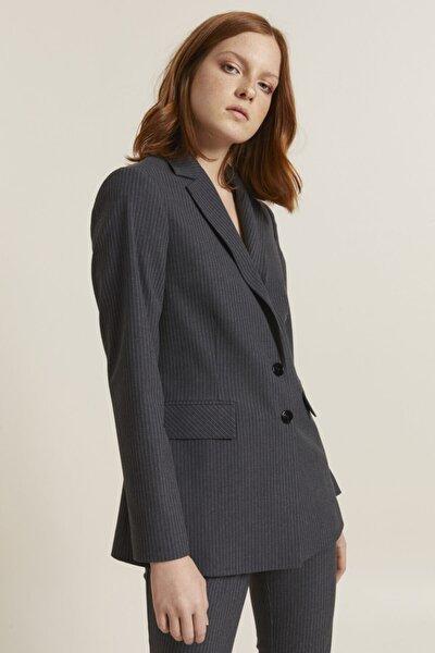 Kadın Antrasit Erkek Yaka Çizgili Ceket