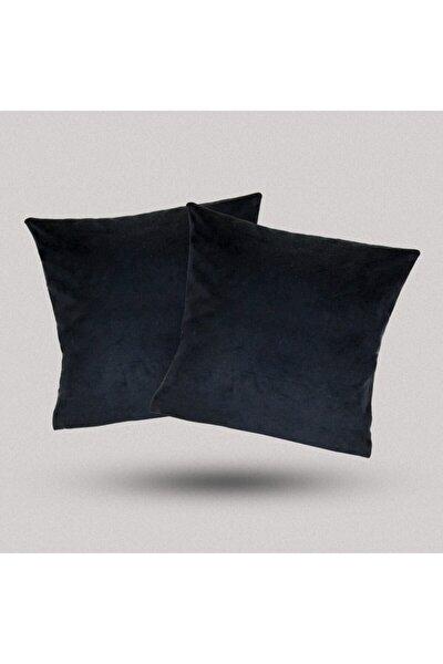 Siyah Kadife Dokulu Kırlent Yastık Minder Kılıfı 2 Adet 45x45cm