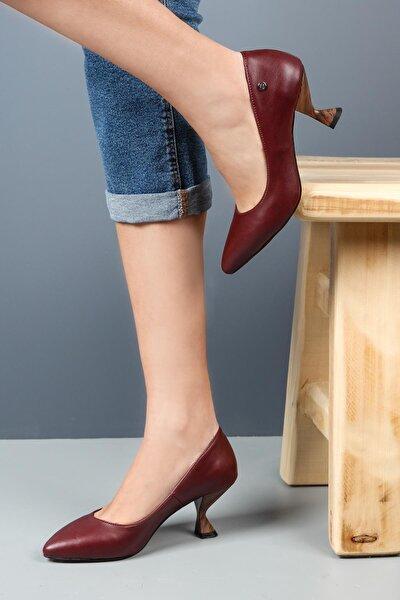 Bordo Topuklu Kadın Ayakkabı