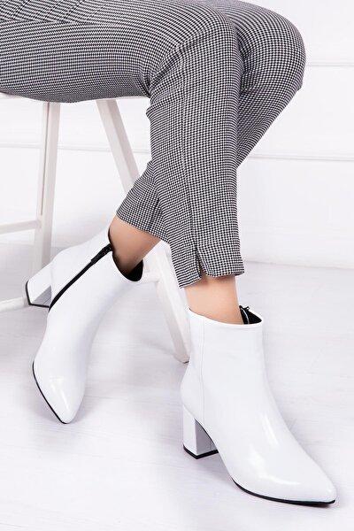 Hakiki Deri Beyaz Rugan Kadın Topuklu Deri Bot Dp02-0001