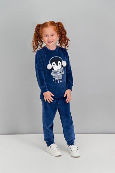 Kız Çocuk Lacivert Uzun Kol  Pijama Takımı  Rp1578-1-v2