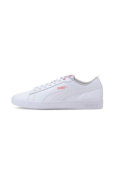 Smash V2 Leather Kadın Spor Ayakkabısı-beyaz Somon Gri