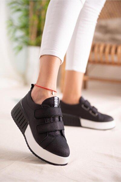 Julia Siyah Simli Çift Bantlı Yüksek Tabanlı Sneakers
