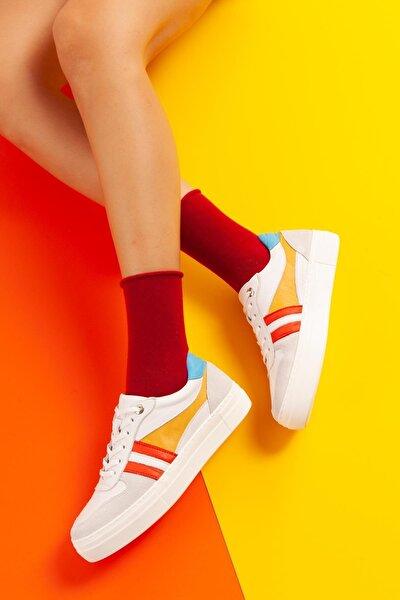 Hakiki Deri Jaylee Hardal Şerit Detaylı Sneakers