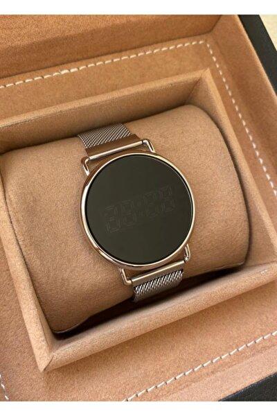 Gümüş Hasır Mıknatıslı Kordon Dokunmatik Ekran Unisex Saat