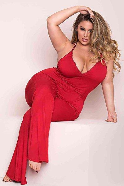 Büyük Beden Kırmızı Pijama Tulum