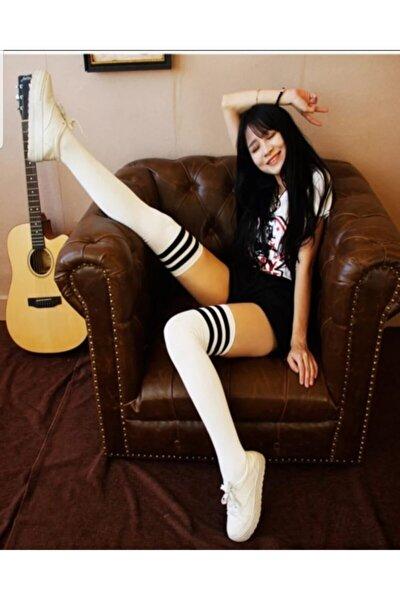 Siyah Çizgili Beyaz Renk Diz Üstü Çorap