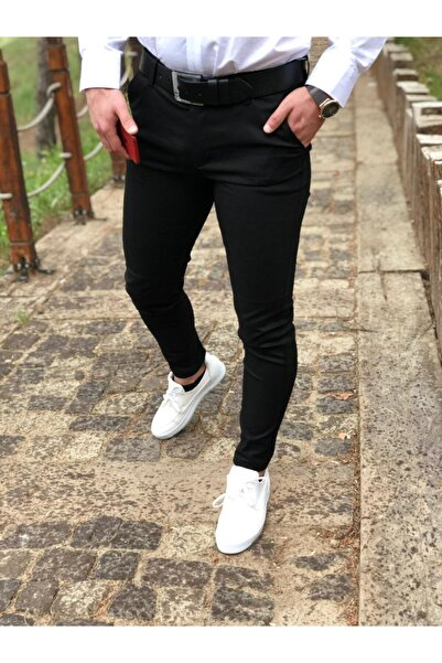Erkek Petek Desen Siyah Keten Pantolon