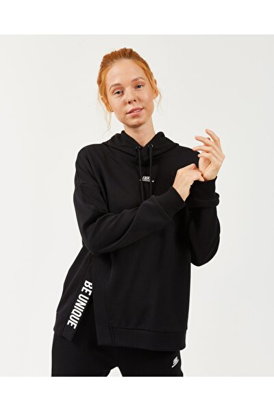 2X I-Lock W Print Detailed Hoodie Kadın Siyah Sweatshirt