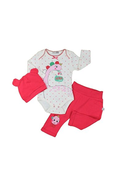 Kız Bebek Nar Çiçeği Dino Şapkalı 3lü Zıbın Set
