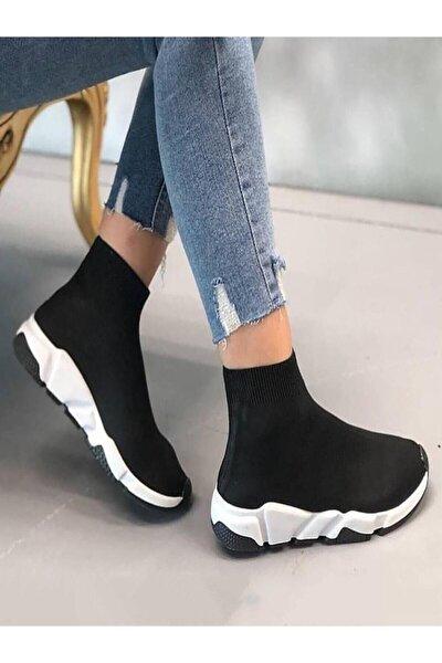 Kadın Siyah Çoraplı Yüksek Taban Sneakers Ayakkabı