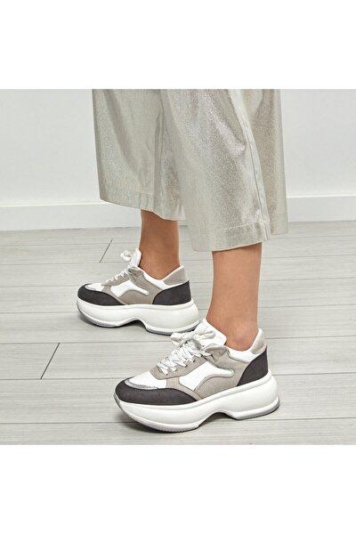 19SF-2061 Gri Kadın Kalın Taban Sneaker Spor Ayakkabı 100530977