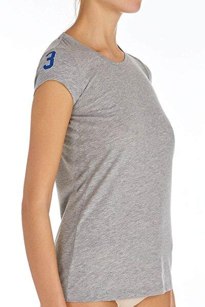 Kadın Gri Melanj O Yaka T-shirt U.s 01.66054