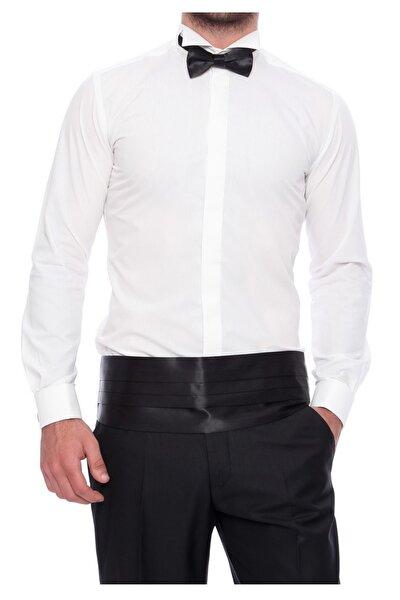 Erkek Bej Gk 410 Slim Fit Krem Klasik Gömlek