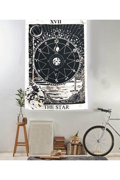 70 X 100 Cm The Star Zodiac Siyah Beyaz Duvar Halısı